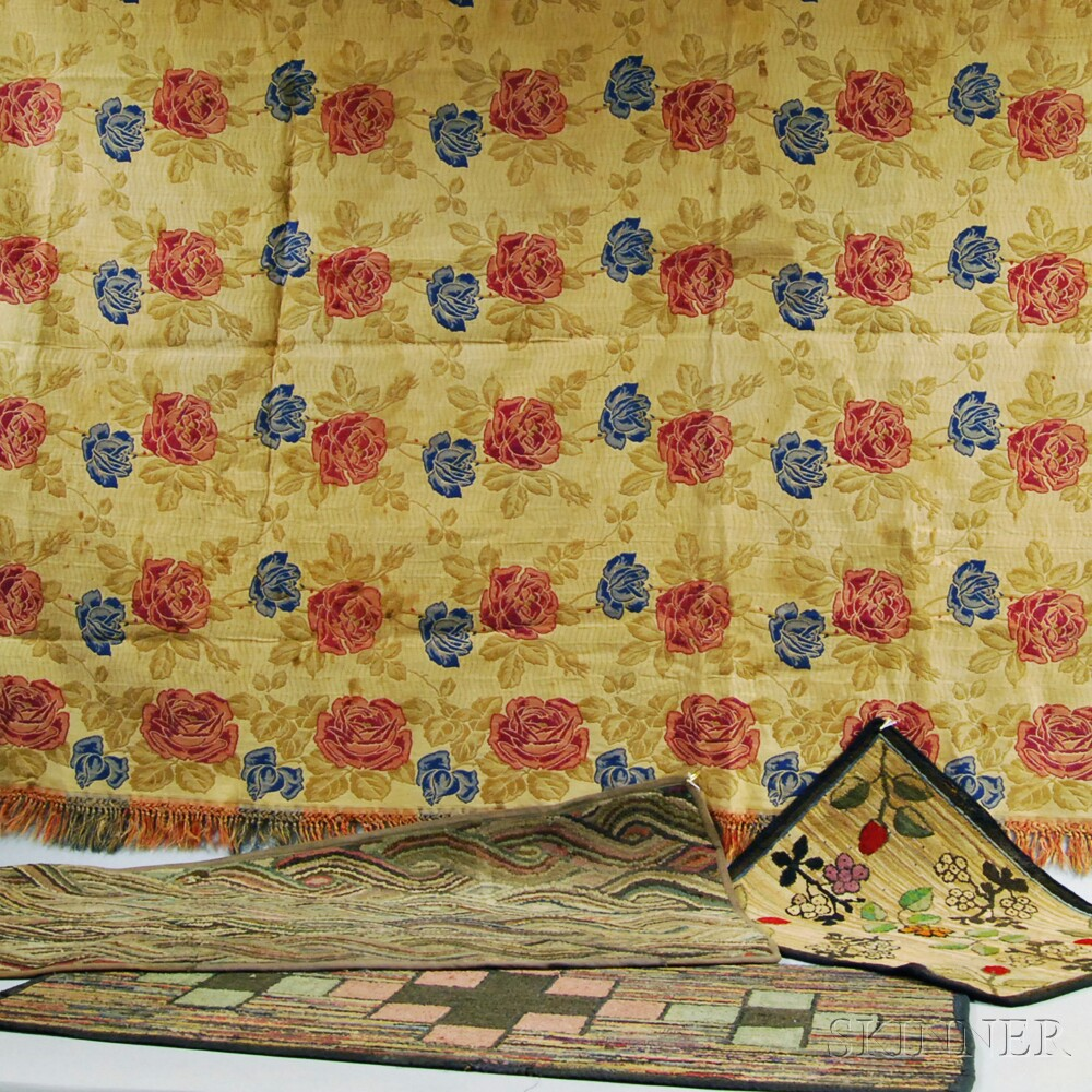Three Hooked Mats and a Floral Coverlet
