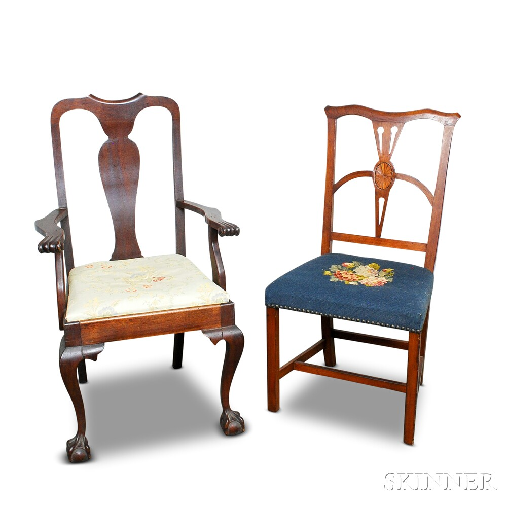 Two Colonial-style Mahogany Chairs
