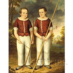 Attributed to Joseph G. Chandler (American, 1813-1880)  Portrait of Twin Boys with Fishing Rod and Bow and Arrow.