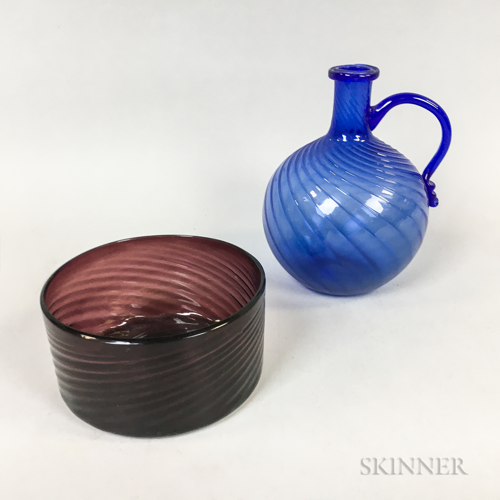 Amethyst Blown Glass Bowl and a Cobalt Jug