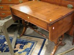 Regency-style Yewwood Drop-leaf Trestle-base Sofa Table.