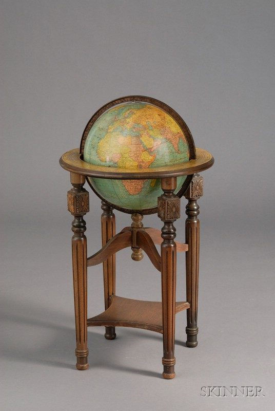 12-inch Terrestrial Globe on Stand, by George F. Cram Company
