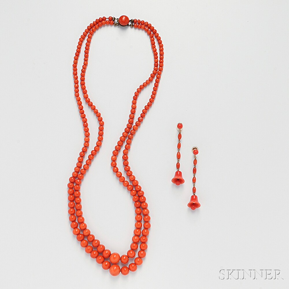 Coral Double-strand Bead Necklace