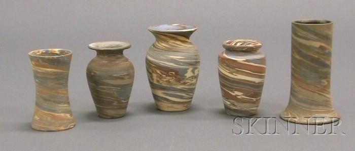 Five Niloak Pottery Vases