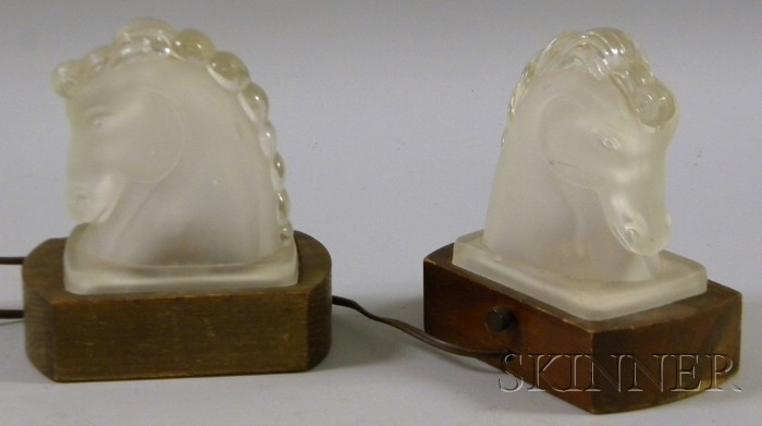 Pair of Frosted Colorless Molded Glass Horse Head Luminors