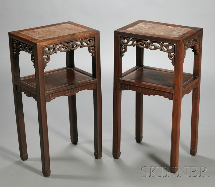 Pair of Tall Rosewood Stands