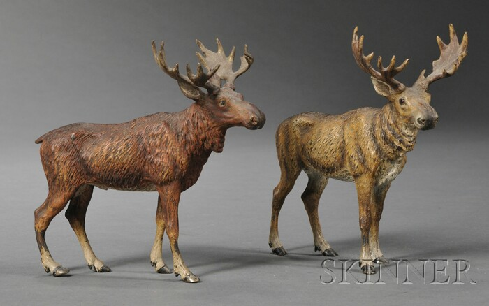 Two Austrian Cold-painted Bronze Figures of Moose