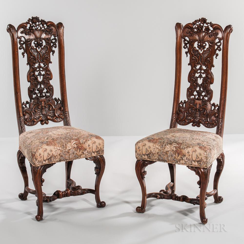 Set of Twelve Walnut Side Chairs in the Style of Daniel Marot
