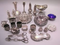 Approximately Thirty-six Assorted Sterling and Silver Plated Table Items.
