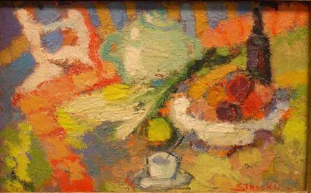 Framed Oil Les Bouteilles