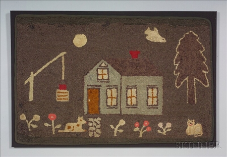 Wool and Cotton Pictorial Hooked Rug