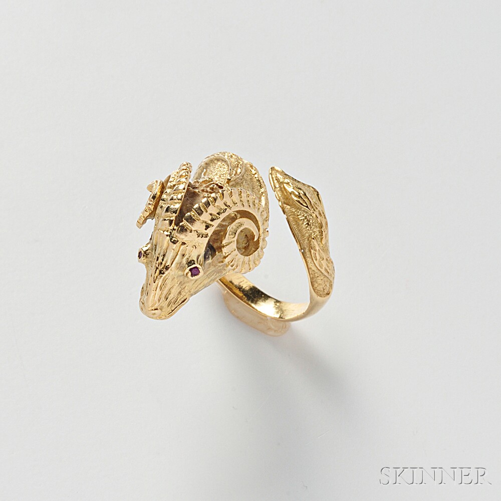 18kt Gold Ram's Head Ring