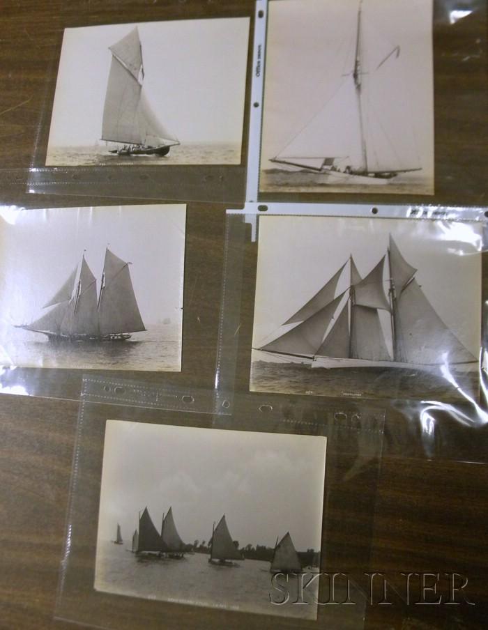 John S. Johnston (British/American, born c. 1839-1899)      Lot of Five Yachting Images: Mayflower ,  Puritan