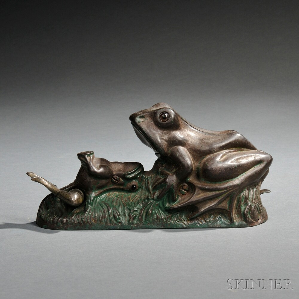 "Painted Cast Iron Mechanical ""Two Frogs"" Bank"
