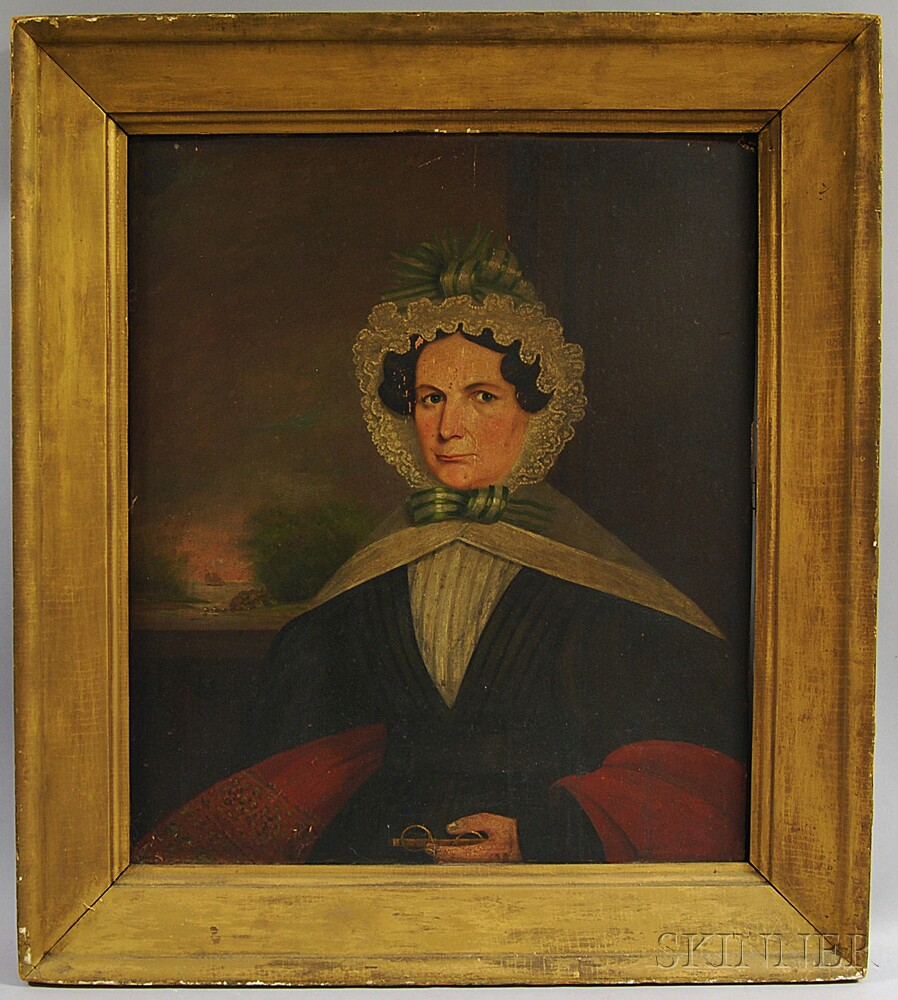 American School, 18th/19th Century       Portrait of a Woman with Green Ribbon and Glasses.