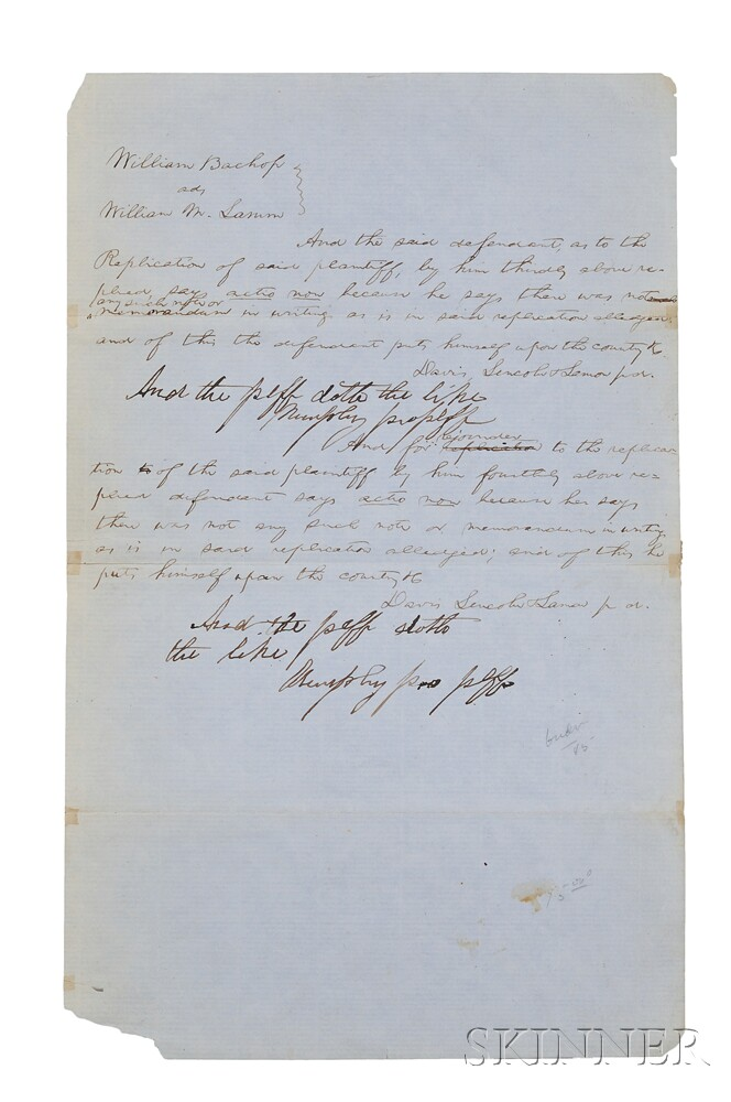Lincoln, Abraham (1809-1865) Unsigned Legal Brief and Other Ephemera.