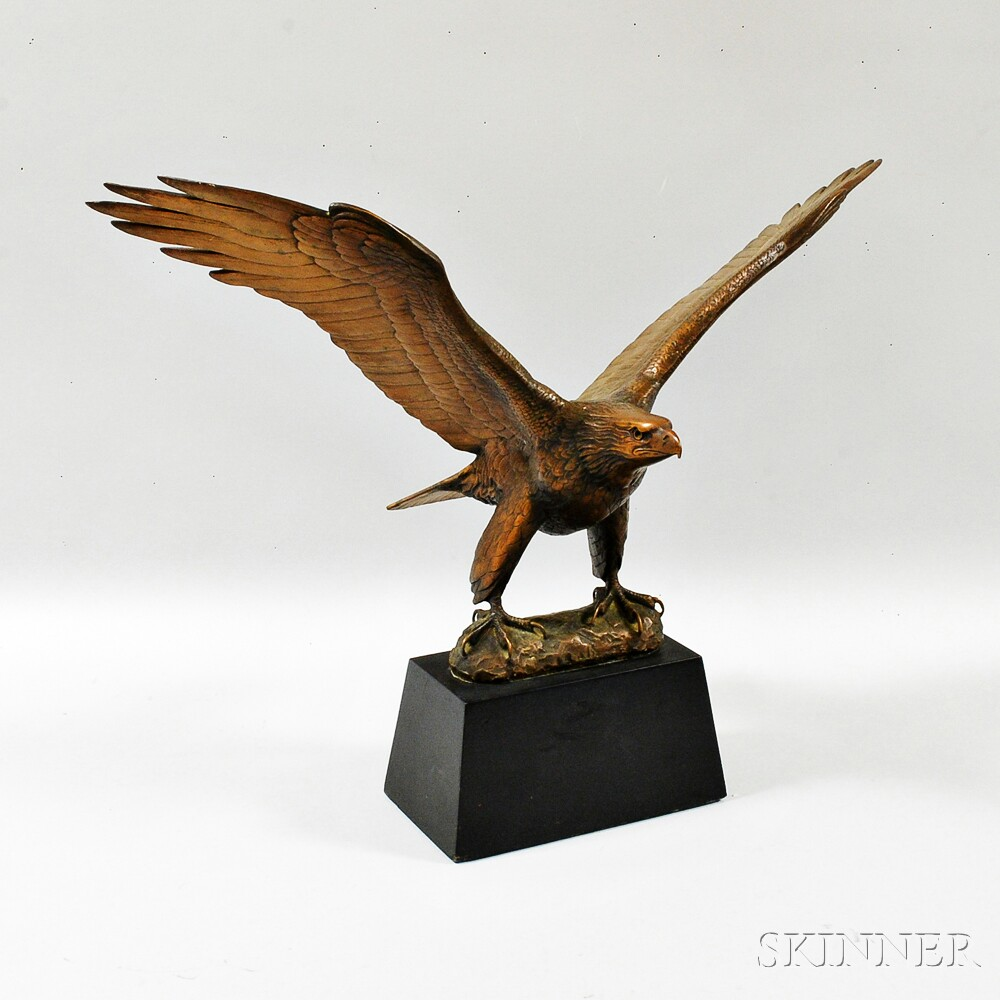 Huge old hand carved wood federal eagle folk art wooden eagle wall - Gilroy Roberts American 1905 1991 The Great American Eagle