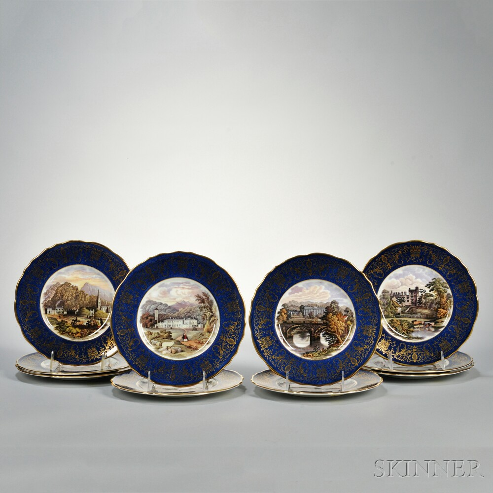Set of Ten Cauldon Transfer-decorated Cobalt and Gilt Plates