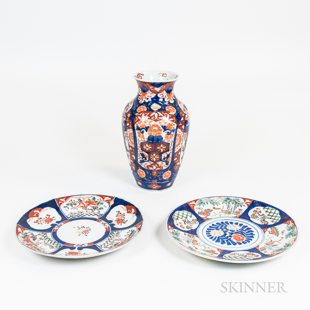 Two Imari Porcelain Chargers and a Vase