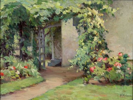 Mabel May Woodward (American, 1877-1945)    Garden with Trellis