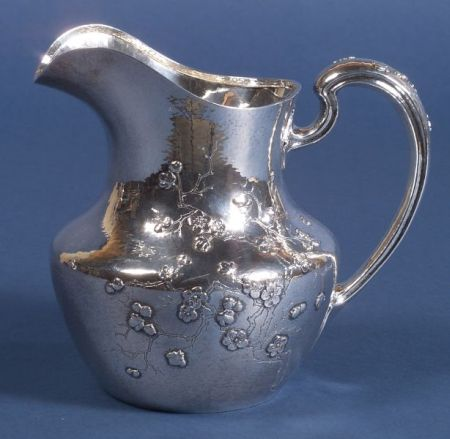 Gorham Hammered Sterling Aesthetic Movement Water Pitcher