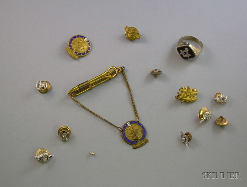 Group of Mostly 14kt Gold and Diamond Melee Masonic Jewelry Items
