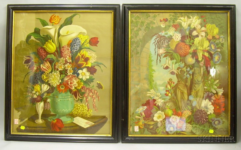 Framed Pair of James Vick Seed Co. Chromolithograph Floral Advertising Prints