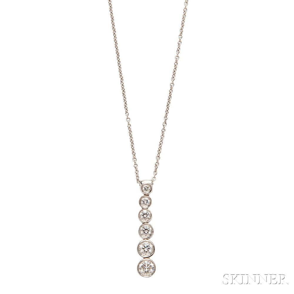 "Platinum and Diamond Graduated Drop ""Jazz"" Pendant, Tiffany & Co."