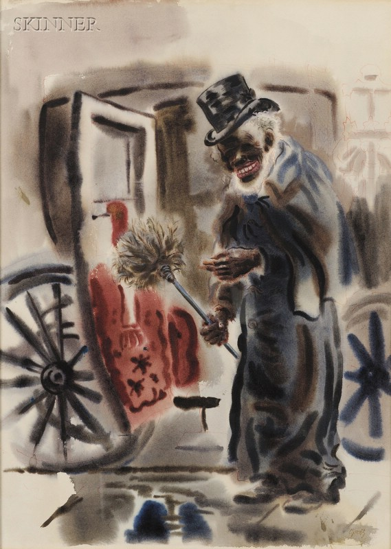 George Ehrenfried Grosz (German/American, 1893-1959)      The Black Cabby