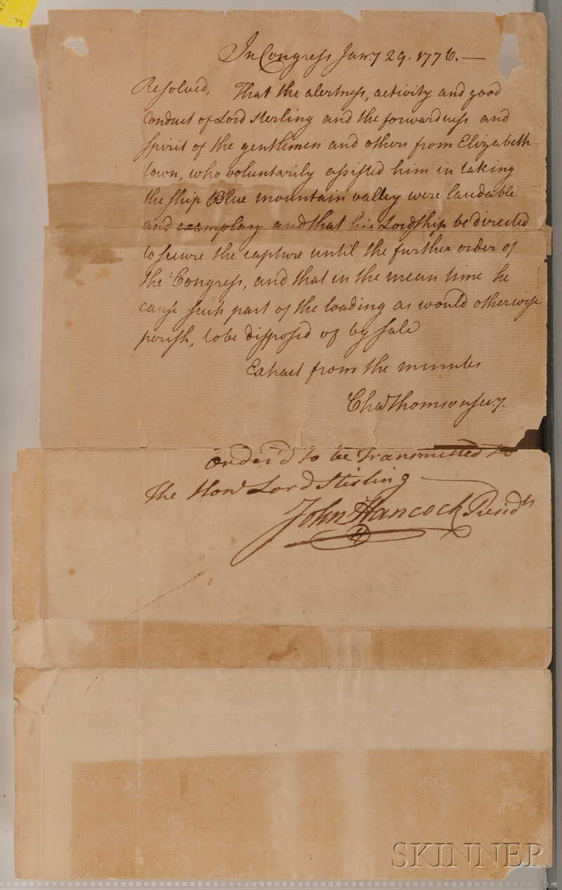 (Revolutionary War, Privateering), Hancock, John (1737-1793) and Thomson, Charles, (   729-1824)