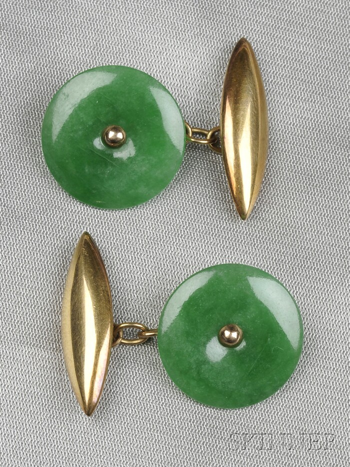 14kt Gold and Jadeite Cuff Links