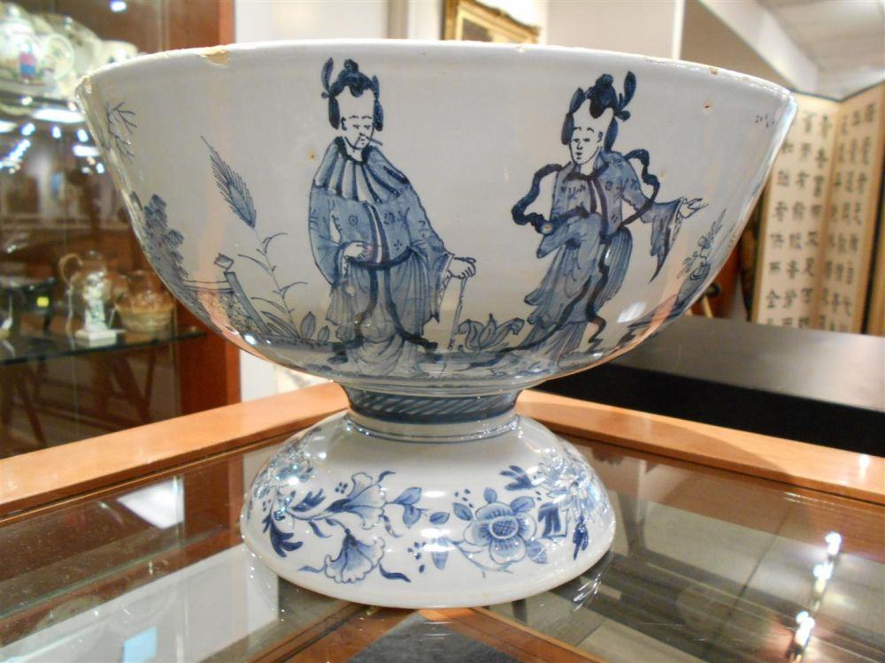 Tin-glazed Earthenware Footed Punch Bowl