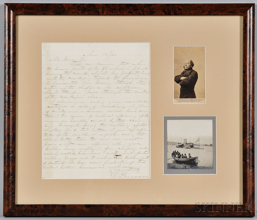 Ericsson, John (1803-1889) Autograph Letter Signed, 18 January 1860, and Two Photographs.