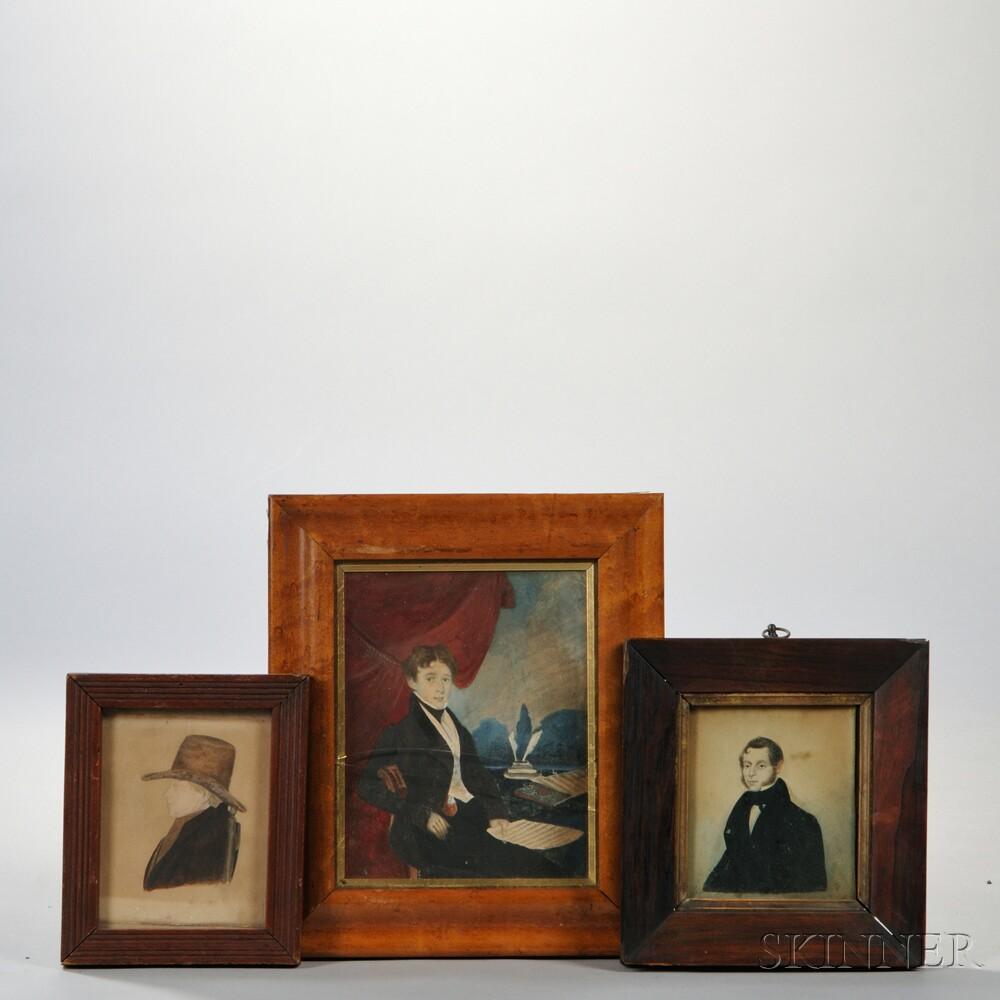 Three Framed Watercolor Portrait Miniatures of Men