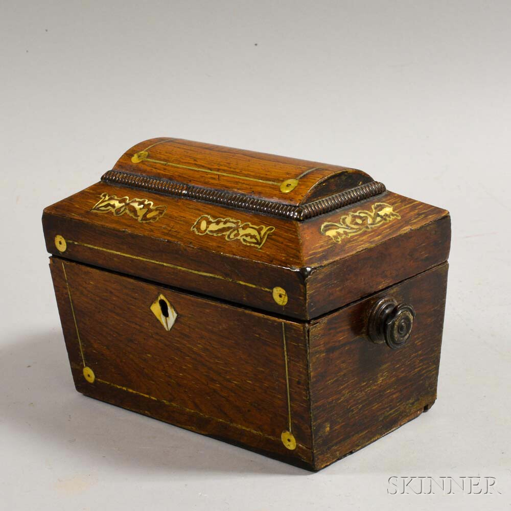 Rosewood and Gilt Mother-of-pearl-inlaid Tea Caddy