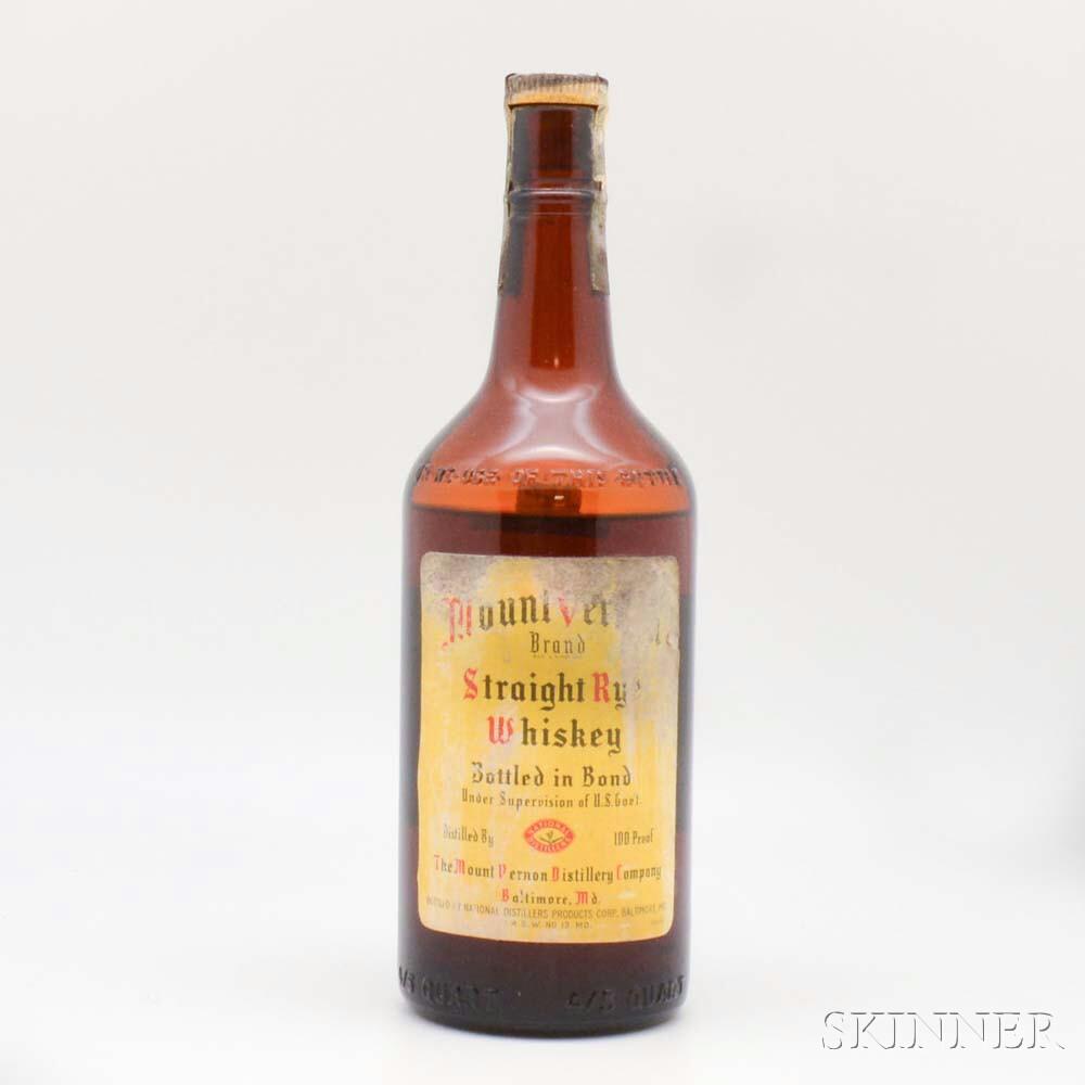 Mount Vernon Straight Rye Whiskey 5 Years Old 1939, 1 4/5 quart bottle