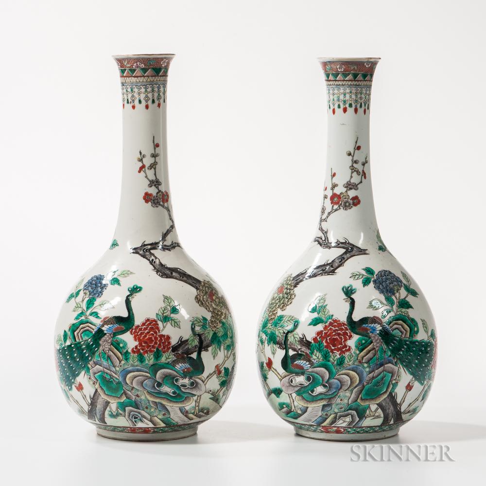 Pair of Famille Verte Bottle Vases
