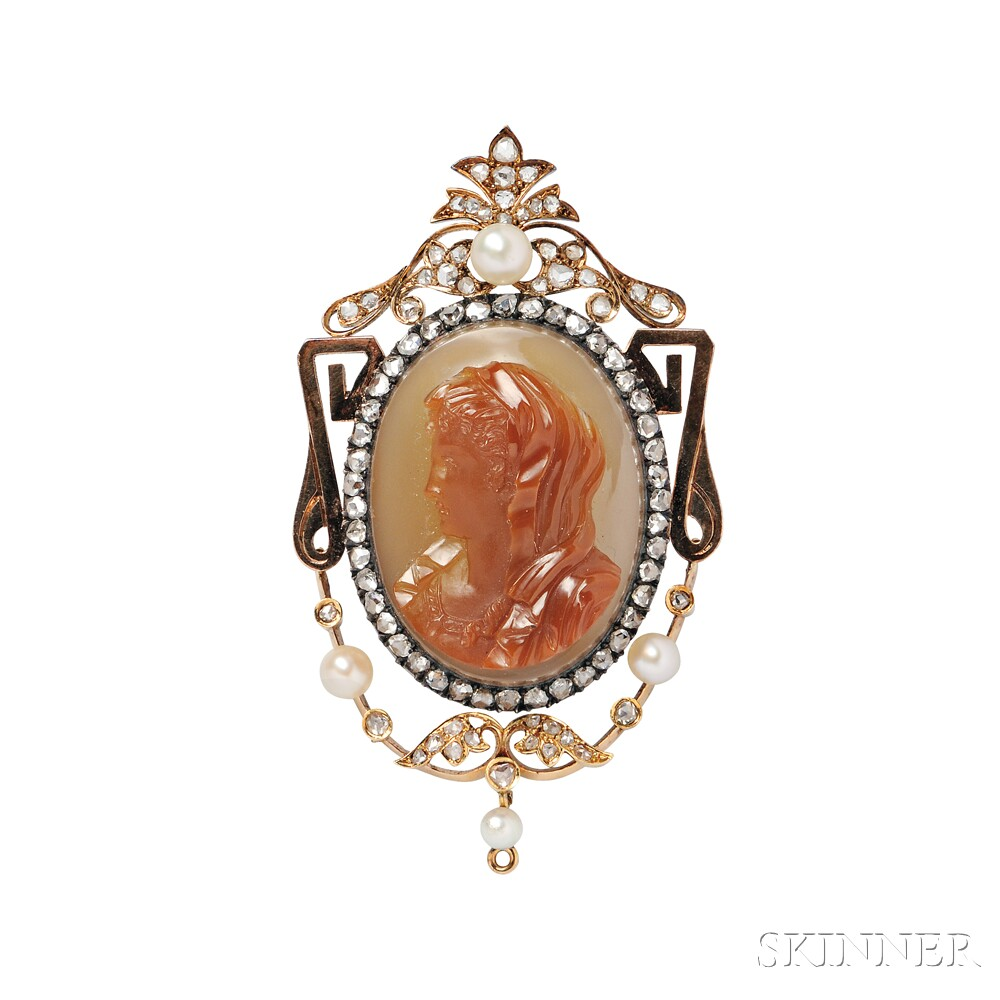 Antique Hardstone Cameo Brooch