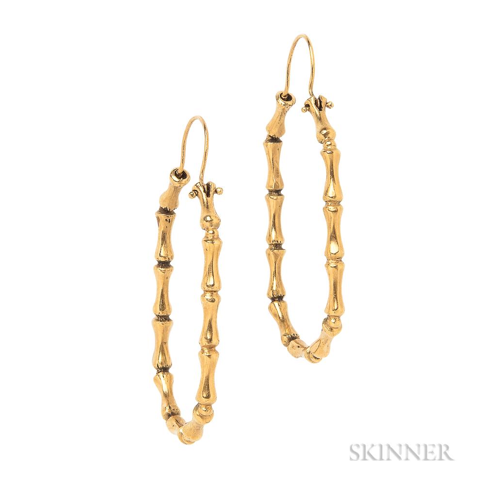 18kt Gold Bamboo Earrings