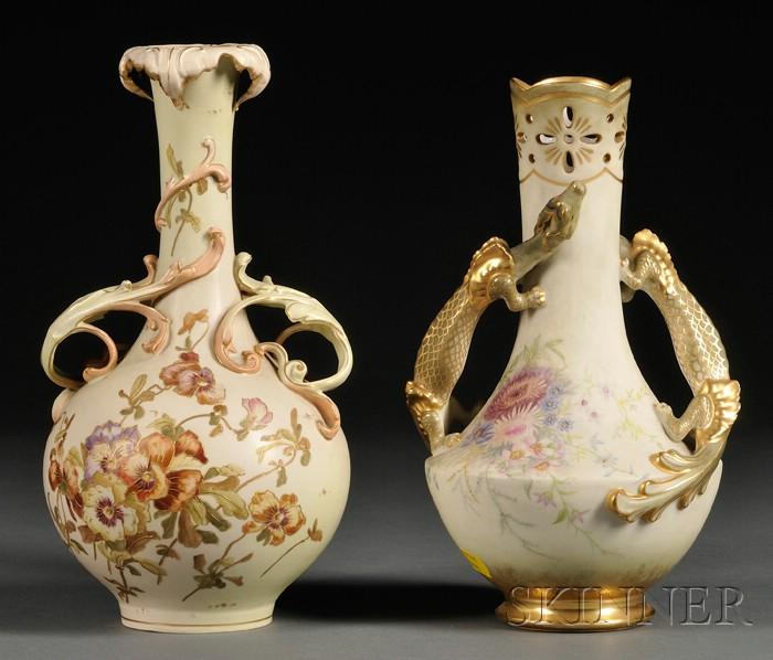 Two Austrian Porcelain Bottle-form Vases