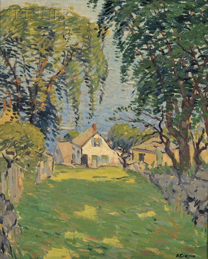 Antonio Cirino (American, 1889-1983)      Seaside Cottages in Dappled Sunlight
