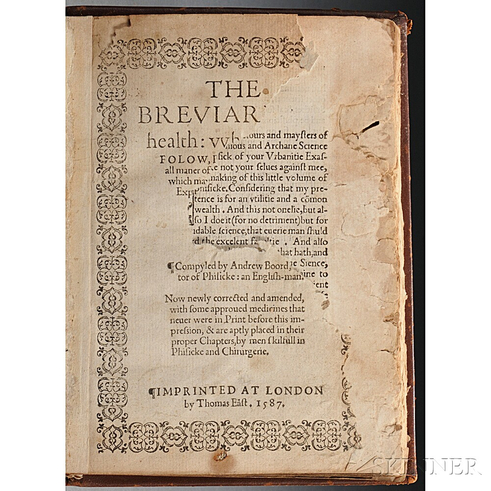 Boorde, Andrew (1490?-1549) The Breviarie of Health: vvherin doth Folow, Remedies, for all Maner of Sicknesses & Diseases, the which ma