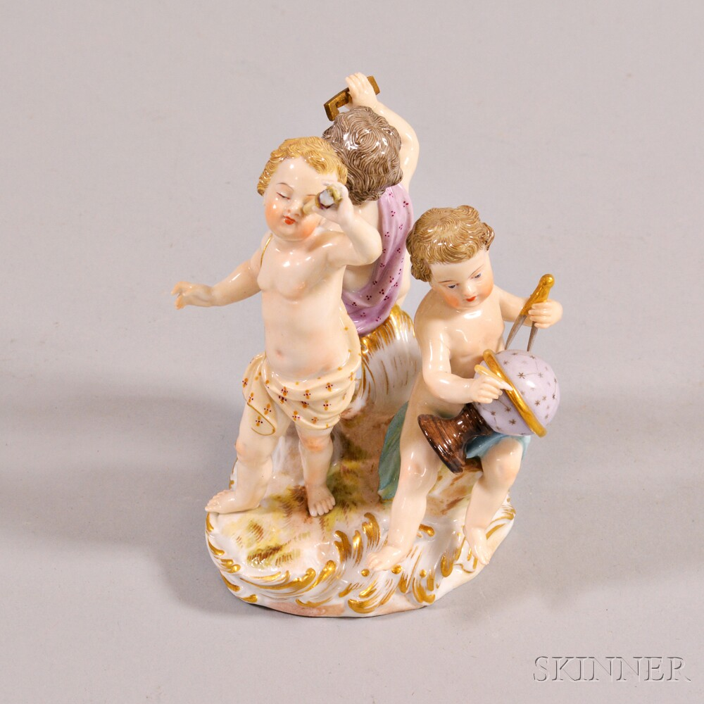 Small Meissen Porcelain Figural Group of Putti