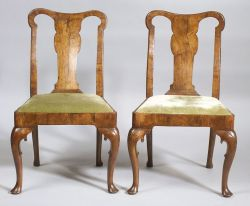 Pair Queen Anne Burl Walnut Side Chairs