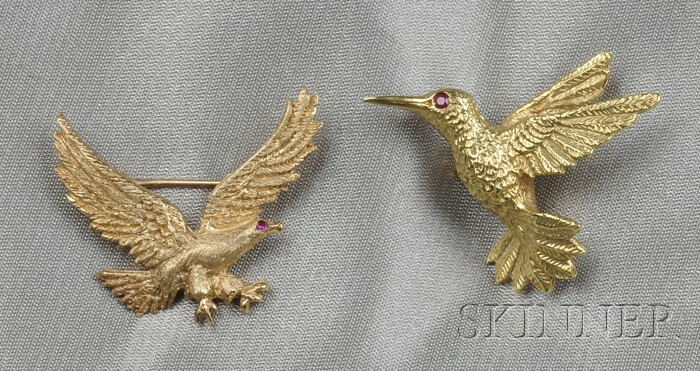 Two Bird Brooches, one Tiffany & Co.