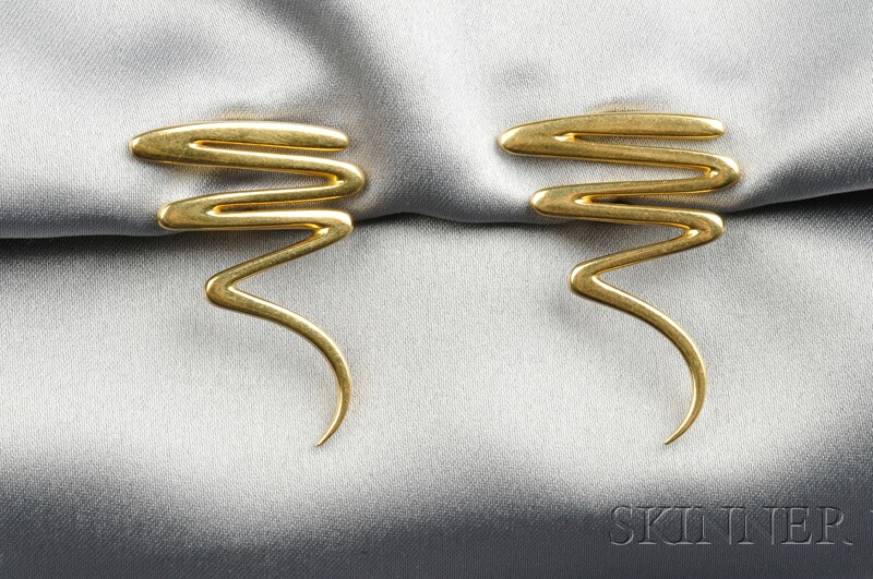 "18kt Gold ""Scribble"" Earclips, Paloma Picasso, Tiffany & Co."