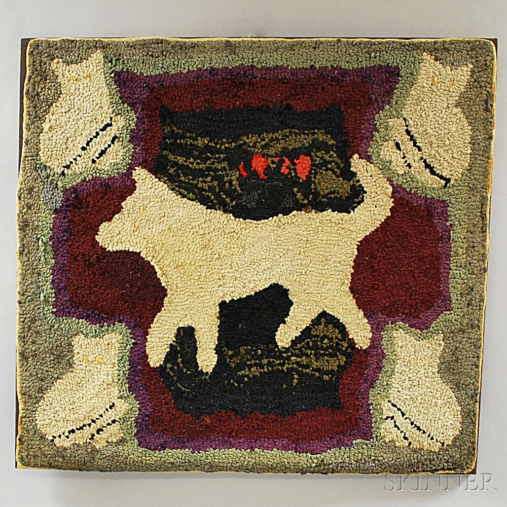 Large Pictorial Hooked Rug