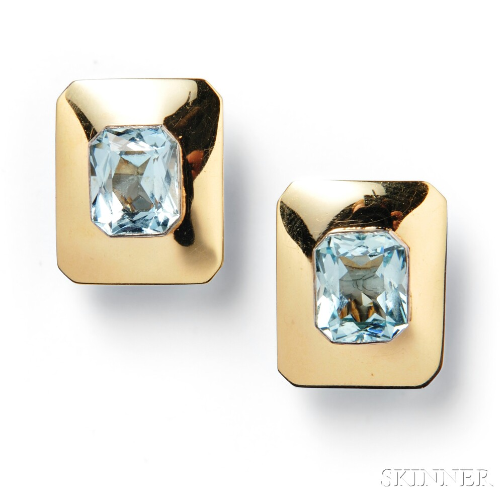 18kt Gold and Aquamarine Earclips