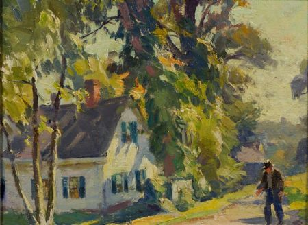 Mabel May Woodward (American, 1877-1945)    Sunlit Landscape with a Cottage