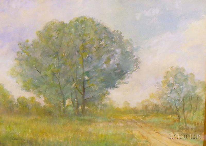 Framed Watercolor on Paper/board Spring Landscape